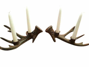 Set of Cast Iron Deer Antler Taper Candle Holders Hunting Lodge Holiday Decor