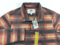 JOHN WAYNE MEN/'S WOOLY FLEECE PULLOVER SHIRT 1//4 SNAP TOP RUSTY RED PLAID small