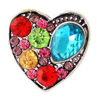 Silver Plated Multi Colored Rhinestone Heart 20mm Snap Charm For Ginger Snaps