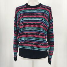 Vtg 80s 90s Womens Sweater Bright Color Stripe Long Sleeve Crew Neck Size Small