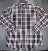 Timberland Mens Long Sleeve Button Down Flannel Shirt Blue And Tan Size Large