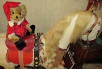 "VINTAGE TEDDY BEAR HERMANN 15"" RARE RED MOHAIR CHRISTMAS SANTA W TAGS GERMAN TOY"