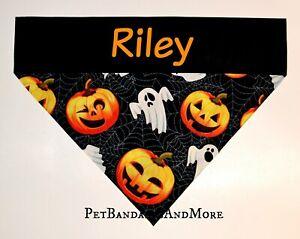 Personalized Dog Bandana Halloween Ghost Pumpkin Spiderweb Over The Collar XS-XL
