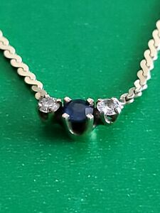 """14K UNO A ERRE  ITALY  Yellow Gold Sapphire Diamonds Necklace 15""""  Not Scrap"""