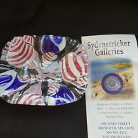 Sydenstricker Glass Plate Seashells Fused Art Glass Red White Blue 5 x 6