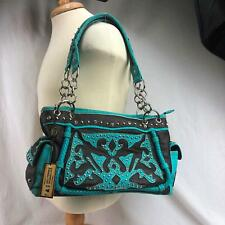 P&G Collection Turquoise Flower Studded Purse Leather Cross Conceal