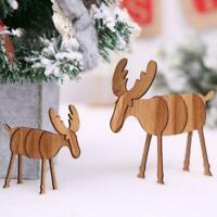 Wooden Christmas Elk Deer Ornament Christmas Tree Dek Pendant Hanging Gifts