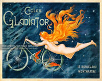 Vintage 1895 GLADIATOR CYCLES Advertising Poster - Paris France Cycling Bicycles