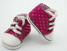 "Rose Pink Sequin Sneakers Shoes Rebron Dolls Accessories For 18"" American Girl"