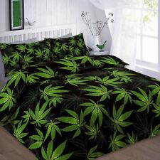 King Cannabis Marijuana Leaf Weed Green Black Duvet Cover Quilt Bedding Sets