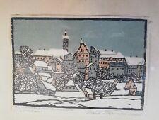 C. Theodor Thiemann (1881-1966) Vue de Dachau Gravure sur bois signée originale