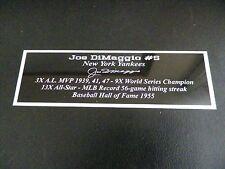 Joe DiMaggio Nameplate New York Yankees Autograph Photo Bat Hat Jersey