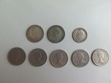 Lot of 7 Britain 1916 1928 1935 silver George  6 3 pence 1955-66 Elizabeth (115)