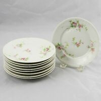 """8 Ch. Field Haviland GDA Limoges Bread Hors d'oeuvre Plates Pink Flowers 6-1/4"""""""