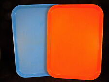 "SET OF 2 CAMBRO FAST FOOD Serving Trays 16"" by 12"" orange blue plastic food tray"