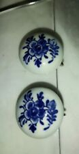 New listing Blue & White Floral Screw Back Delft Earrings Costume Jewelry Marked