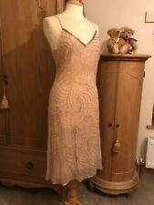 NEW Phase Eight Dress size 12 Nude Beaded Silk Evening Gatsby (beads Missing)