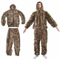 Leaf Ghillie Suit Woodland Camo Camouflage Clothing 3D jungle Hunting L / XL #BP