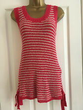 BNWT NEXT Ladies Pink Stripe Fine Knit Sleeveless Vest Top Size 14