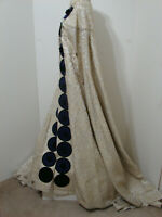 Custom Heavy Silk Embroidered Brocade MASSIVE Bias Royal Cape Iridescent Jewels