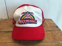 Vtg 80s USA Red Trucker Hat Ball Cap Snapback 1989 Pro Bowl Hawaii Rainbow RARE