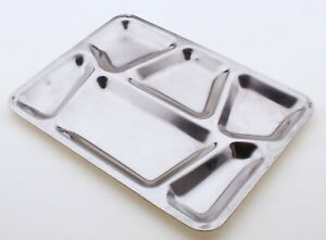 """Serving Tray Stainless Steel Metal Lunch Dinner Boot Camp Plate 12 x 15 3/4"""""""