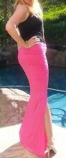 Maya Antonia-PLUS SIZE- Hot Pink Maxi Skirt w/Rushing and Slit,Extra Long