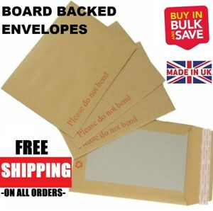 Please Do Not Bend  Hard Card Board Backed Brown Manilla Envelopes Rigid