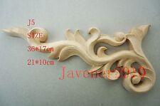 21*10cm Wood Carved Corner Onlay Applique Frame Decoration Unpainted J5