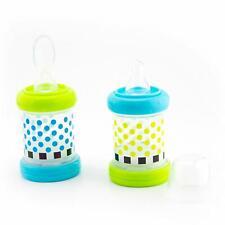 Baby Food Nurser Set of 2 4 oz. Silicone Nipple Spoon BPA Free Feeding Bottles