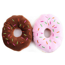 Funny Pet Dog Cat Puppy Chew Squeaker Squeaky Plush Toy Donut Sound Play Toys