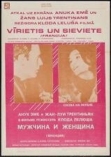 A MAN AND A WOMAN UN HOMME ET UNE FEMME Latvian movie poster LELOUCH ANOUK AIMEE