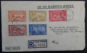 SCARCE 1949 Bahamas Registd O.H.M.S. Cover ties 5 tercentenary stamps can Nassau
