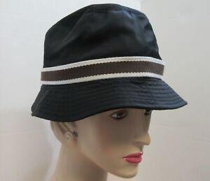COACH black bucket hat with brown trim p/s