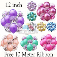 "10-10pcs12"" Metallic Pearl Confetti Latex Balloons for Wedding Birthday Party"