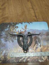 Long Horn Bull Head Shape Cabin Farm Style Horse shose Handmade Door Knocker
