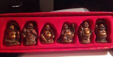 Set of 6 Laughing Buddhas - 57mm - New In Box - Antique Finish