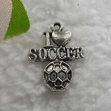 Free Ship 110 pcs tibet silver i love soccer charms 22x16mm  #094