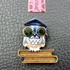Rhinestone Owl Brooch Pin Betsey Johnson Blue Crystal