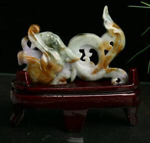 Cert'd 3 Colour Nature Grade A jadeite Jade Sculpture Statue Dragon r76784251
