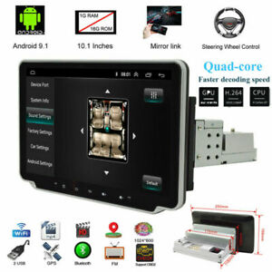 """360°Rotatable Screen 1DIN 10.1"""" Android9.1 Quad Car Stereo Radio GPS Wifi Player"""
