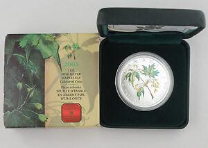 Canada 2003 Colored 1 Oz 9999 Silver Maple Leaf Coin +BOX & COA GEM BU