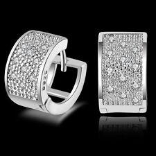 Fashion Lady Women's Crystal 925 Sterling Silver Ear Stud Hoop Earrings Jewelry