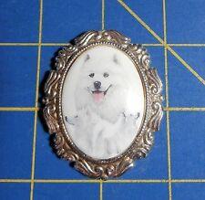 Ceramic Framed American Eskimo Dogs~Magnetic Needle Minder Tool