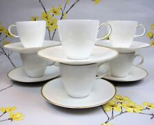 "Modern Rosenthal ""Classic Gold"" Trim COFFEE / TEA SET. 6 cups and 6 saucers."