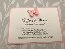 50 Wedding Invites - Pink & White Butterfly - Evening Reception or Daytime