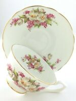 Vintage Teacup Saucer Clarence Bone China England White Cherry Blossoms T025