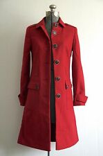 Via Victoria's Secret Red Chili Fitted Wool Blend Button Back Trench Coat 0