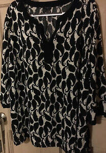 Talbots 3X  Black & White Paisley Print Pullover Tunic Top Relaxed Fit EUC