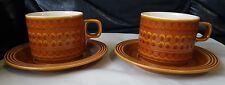 Pair of Hornsea Saffron Cups and Saucers 1972 Vintage